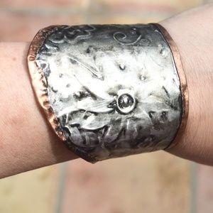 Floral Embossed Silver Copper Wide Cuff Bracelet